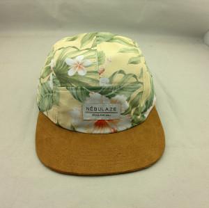custom suede brim 5 panel hat,wholesale patche five panel,cotton five panel caps