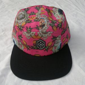 2015 fashion flat peak 5 panel hat,printed fruit and animal 5 panel hat,wholesale colorful 5 panel hat online