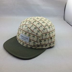 custom high quality hawaii floral 5 panel hat;wholesale summer cap