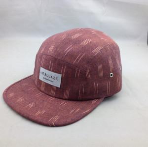 custom 100%linen 5 panel hat,wholesale 5 panel hat