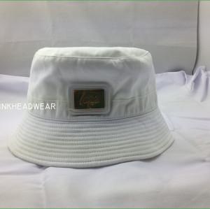 2015 custom bucket hat with metal patche,wholesale white cotton Bucket hat,blank bucket hat