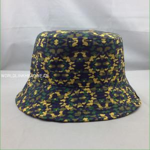 custom camo printed bucket hat/cap;cheap printed fabric bucket hat