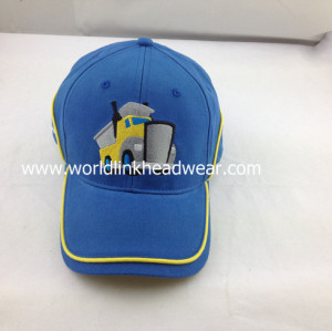 Hot sales blue baseball cap in yellow binding with design logo Soonest delivery baseball cap