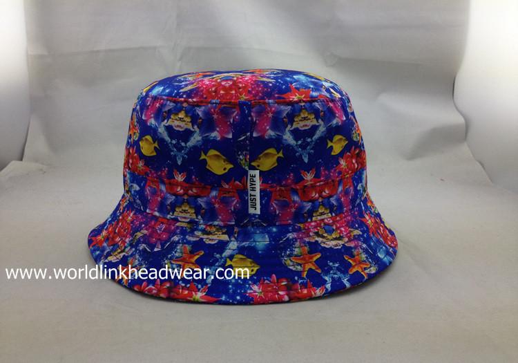 full print fish  bucket hat