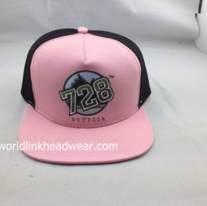 custom trucker mesh caps;wholesale mesh flat brim snapbacks;pink and black  Mesh Tracker Snapabck Cap