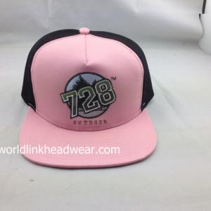 custom trucker mesh caps;wholesale mesh flat brim snapbacks;pink and black  Mesh Tracker Snapabck Cap