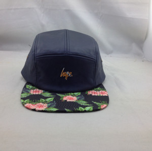 wholesale 5 panel hats;custom leather five panel cap with print flower,plain supreme 5 panel hat