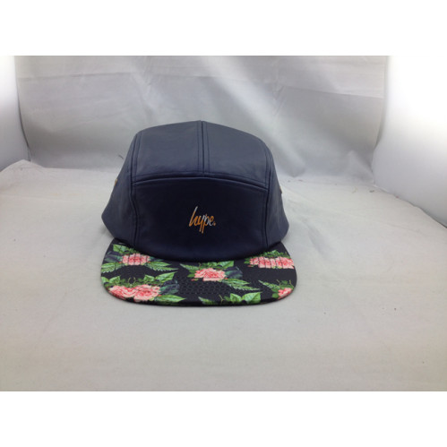 7ec34e5a44c44 wholesale 5 panel hats;custom leather five panel cap with print flower ...