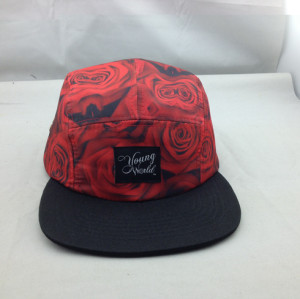 sublimation 5 Panel Hats Custom Floral flat bill snapback cap with woven label wholesale