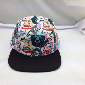 custom 5 Panel hat,wholesale thrasher FIve Panel Hats printed pattern,flat brim design your own 5 panel hat