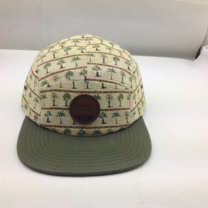 5 Panel hat design,Leather Patch 5 Panel Hat ,Cheap  Adjustable Snapback Camp cap