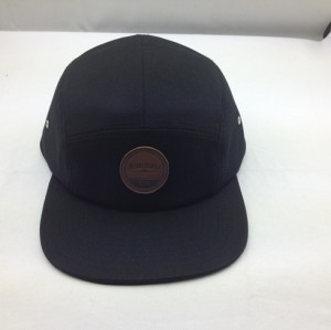 cheap 5 Panel Hat,customize Blank 5 panel hat with leather patch ,brand twill five panel hats custom logo