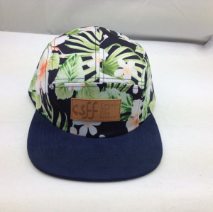 2015 customize 5 panel hat,printed floral five panel hat,wholesale snapback hat with leather patch
