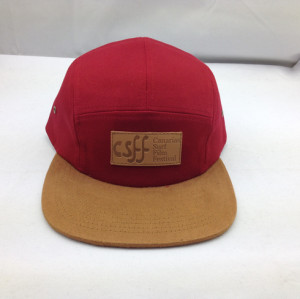 custom suede brim 5 panel hat,wholesale leather patche five panel,twill five panel caps