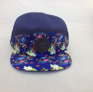 custom flower patern 5 panel hat,high quality five panel hat;leather patche flat brim 5 panel hats