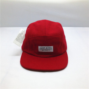 heavy woolen cap wholesale,custom wool 5-panel cap,red five panel hat with applique