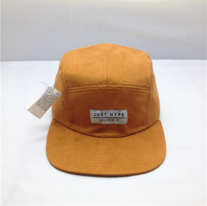 plain khaki 5 panel hat/Custom suede hat cap/ 5 panels suede brim hat