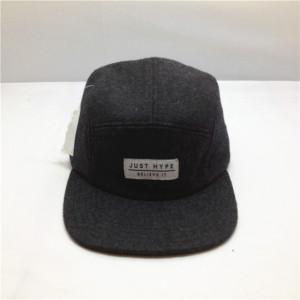 custom 5 panel wool  hat,wholesale black woolen hat, wool snapback cap