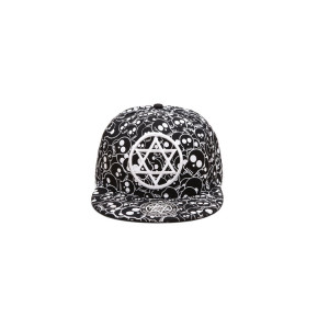 all over printing snapback hat with flat brim and custom 3D embroidery logo