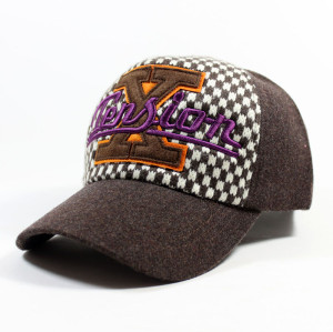 customize top quality wool checked baseball cap with custom embroidery logo two tone/color