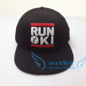 Factory to make flat brimmed snap back hats with embroidery and the sticker for the brim