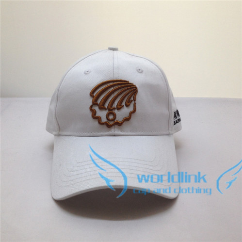 ebb9abccac3 custom wholesale white plain cotton twill fabric baseball golf cap   hat  with gold 3D embroidery pattern