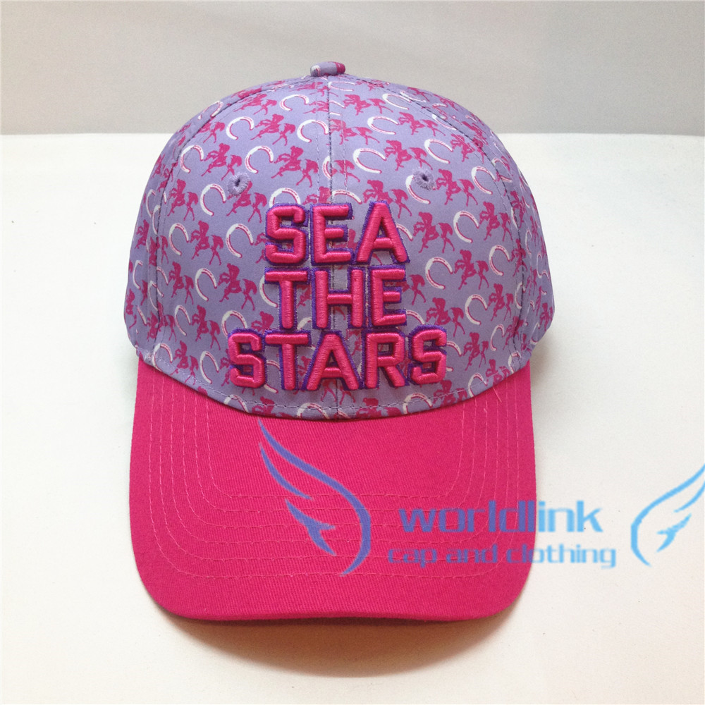 beautiful pink 3D embroidery baseball /golf cap hat for girl