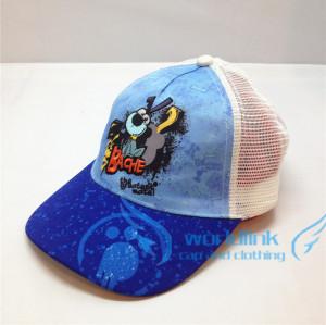 baby/kids/children mesh trucker cap hat with embroidery pattern cartoon dog