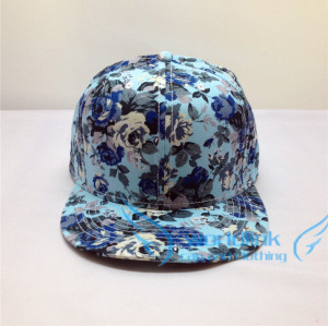 Wholesale Blank Floral Snapback Hats - Blue  Flower Brim