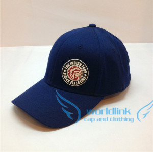 custom elastic fitted baseball cap,fashion high quality baseball cap with customize leather patch logo