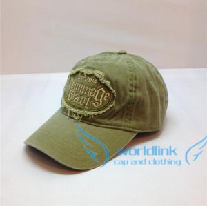 customized cowboy fabric baseball cap,camo green  6 panel worn-out cowboy baseball cap