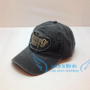 customize cowboy fabric baseball cap,promotional custom 6 panel worn-out cowboy baseball cap