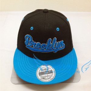 custom snapback cap with Laser stickers-black&blueTwo Colors Embroidery Patch Cap/Snapback Hat With Spikes