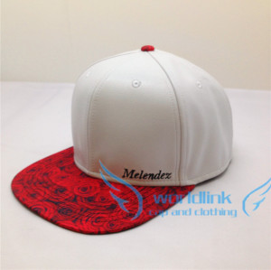 Wholesale rose print brim custom white leather snapback hats/ plain embroidery snapback caps/ flat brim snapbcak hat