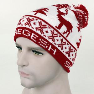 custom Chrismas jacquard weave deer beanie hat