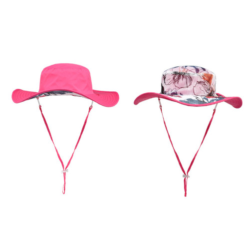 Customize Reversible Bucket Hat With String Printing Floral Fishing