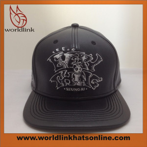 customize high quality leather flat bill hat with embroidery
