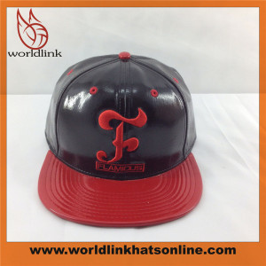 customize leather PU snapback cap wholesale flat brim hat