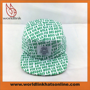 custom all over printed 5 panel hat with woven label