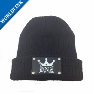 customize  beanies winter  hat with rivet leather patches  wholesale