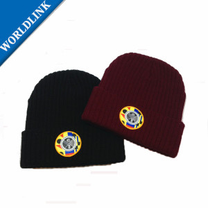 beanies  hat with printed fabric patches  wholesale