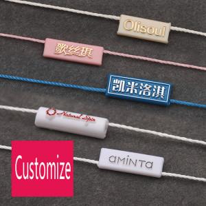 Clothing Plastic String Seal Tag/ Snap Lock White Hang Tag Nylon String