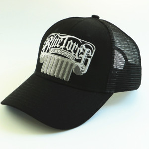 custom trucker hat with silver metal embroidery
