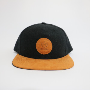 custom small order  wool snapback with embossed suede patches