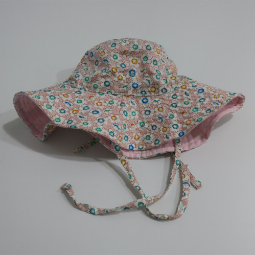 e4a00591 custom floral baby/kid/child floppy sun hat adjustable bucket hat with  string