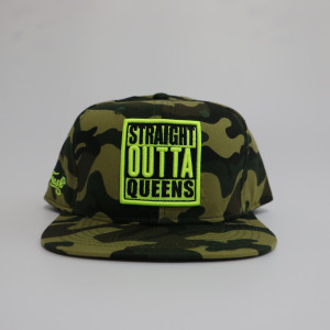 camo 6-panels suede flat peak hat with fluorescence embroidery