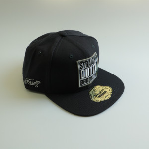 custom navy wool snapback hat with 3D embroidery sticker hang tag