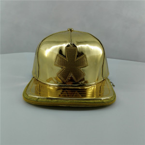 Custom Waterproof Ventilation  golden TPU Snapback Cap with metallic thread embroidery double brim zipper