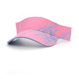 high quality vintage washed cotton sun visor golf cap with rhinestone