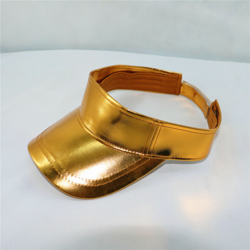 760e13edb23759 wholesale customized plain golden PU sun visor cap   worldlink ...